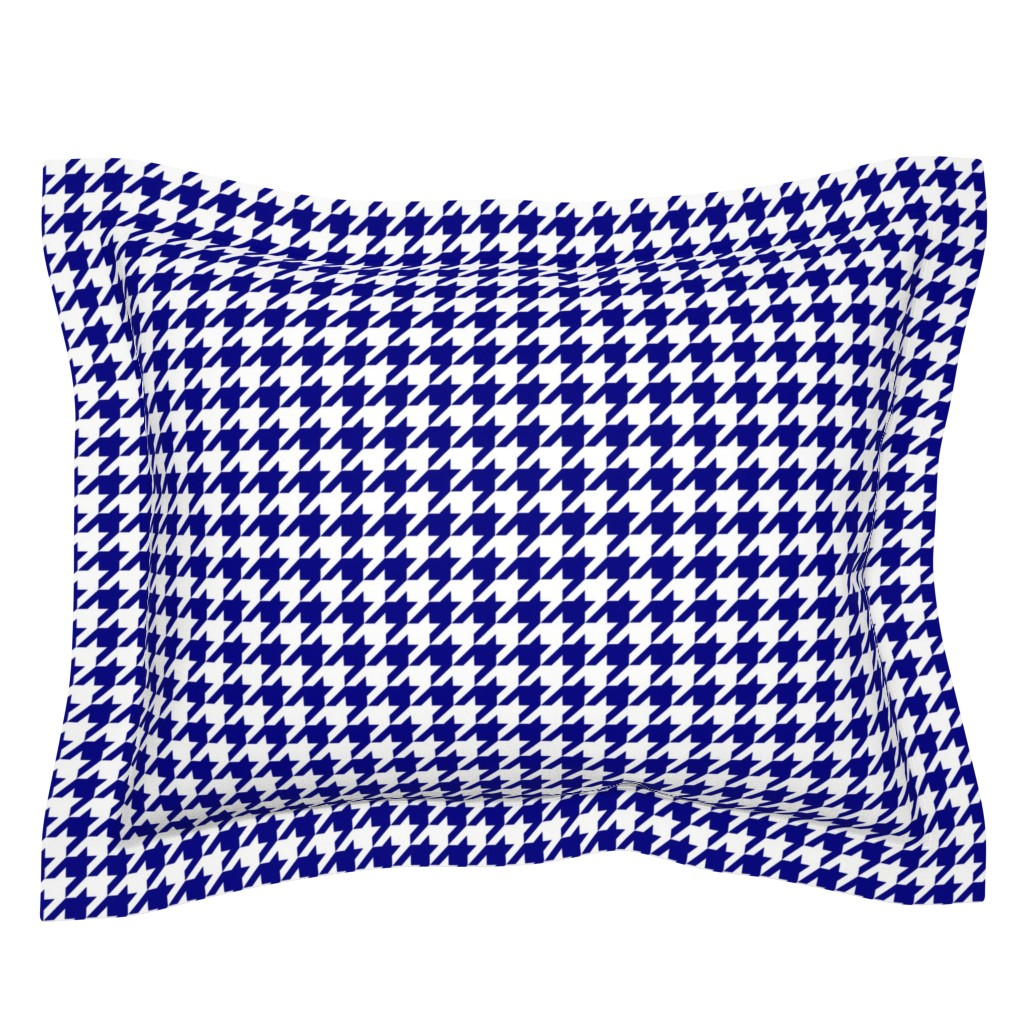 Sebright Pillow Sham featuring Dark Navy Blue and White Houndstooth Check by paper_and_frill