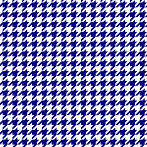 Dark Navy Blue and White Houndstooth Check