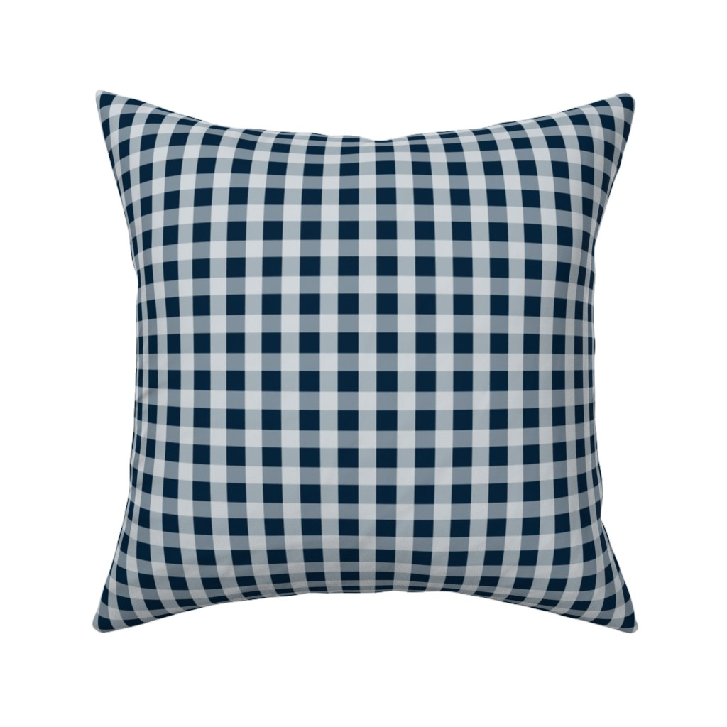 Catalan Throw Pillow featuring Midnight Blue Gingham Check by paper_and_frill