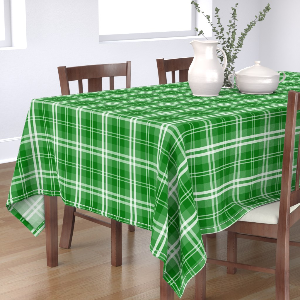 Bantam Rectangular Tablecloth featuring Christmas Green Tartan Plaid Check by paper_and_frill