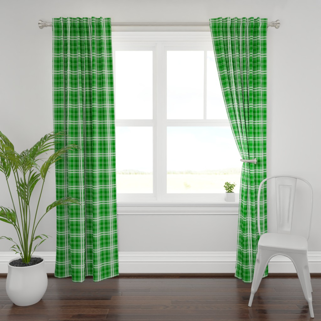 Plymouth Curtain Panel featuring Christmas Green Tartan Plaid Check by paper_and_frill