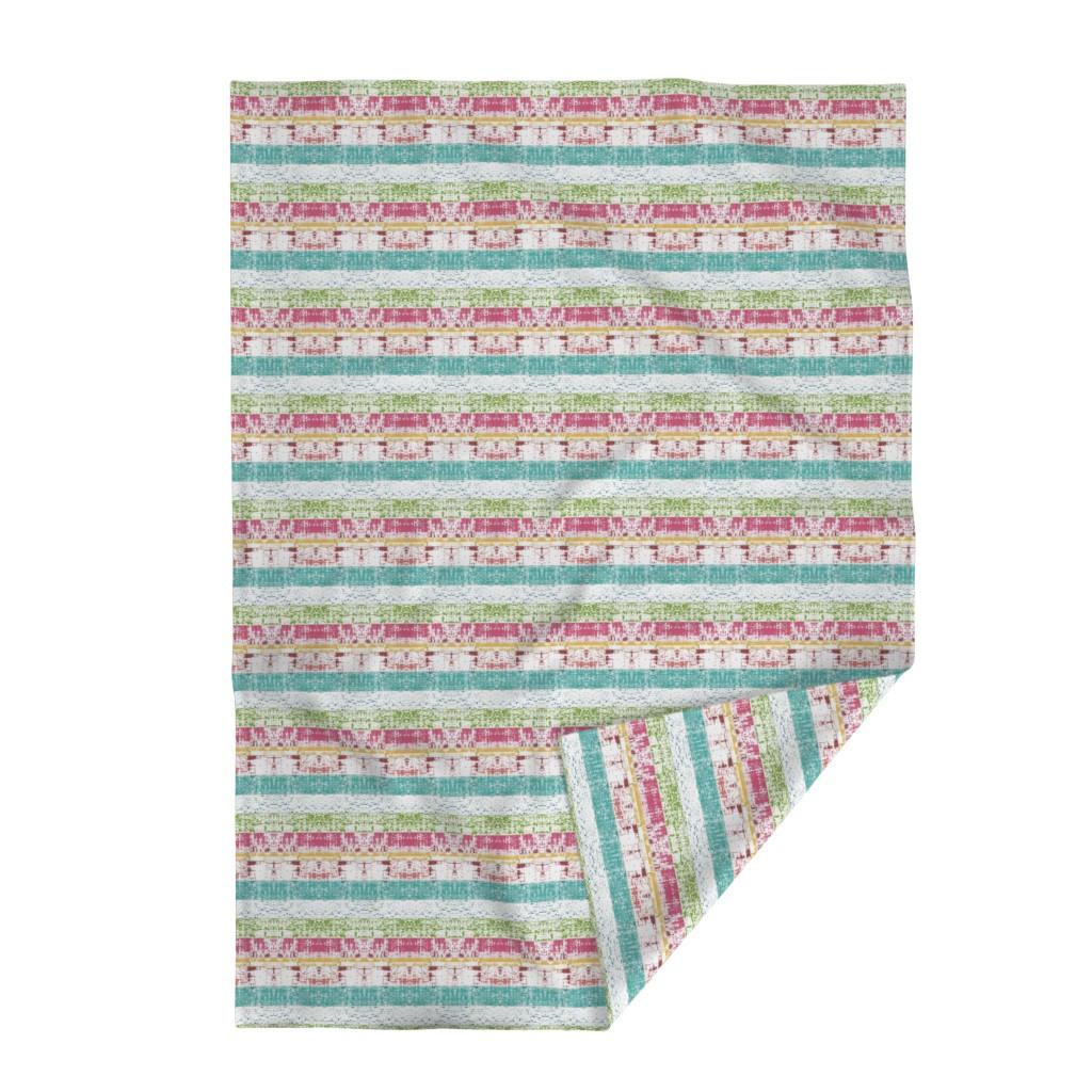 Lakenvelder Throw Blanket featuring Beach Stripes Whitewash 686 HORIZONTAL -lagoon tropics by drapestudio