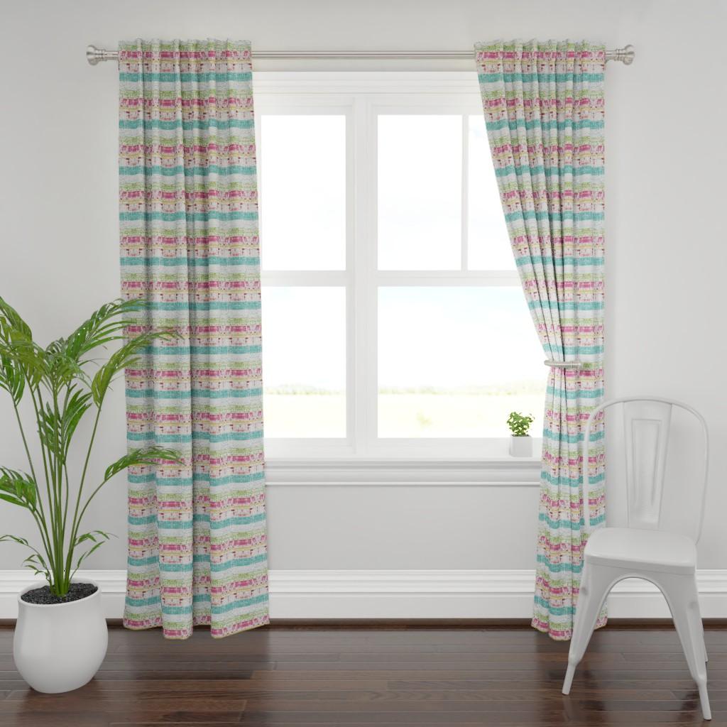 Plymouth Curtain Panel featuring Beach Stripes Whitewash 686 HORIZONTAL -lagoon tropics by drapestudio