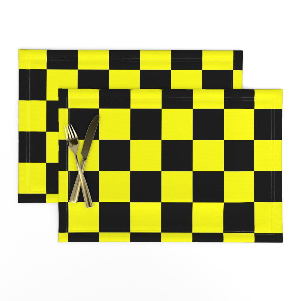 Lamona Cloth Placemats featuring Bright Fluorescent Yellow Neon & Black Checked Checkerboard by paper_and_frill