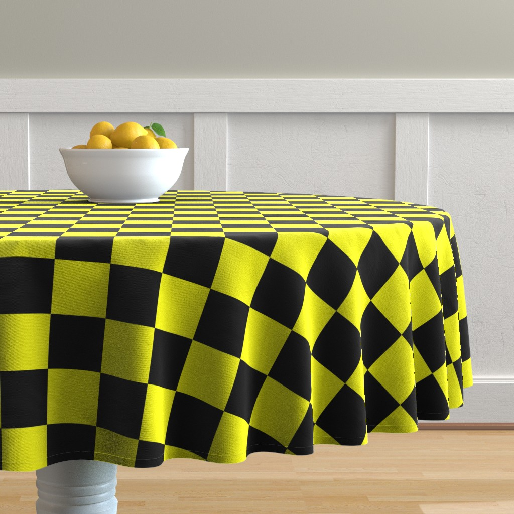 Malay Round Tablecloth featuring Bright Fluorescent Yellow Neon & Black Checked Checkerboard by paper_and_frill