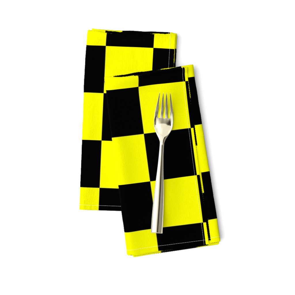 Amarela Dinner Napkins featuring Bright Fluorescent Yellow Neon & Black Checked Checkerboard by paper_and_frill