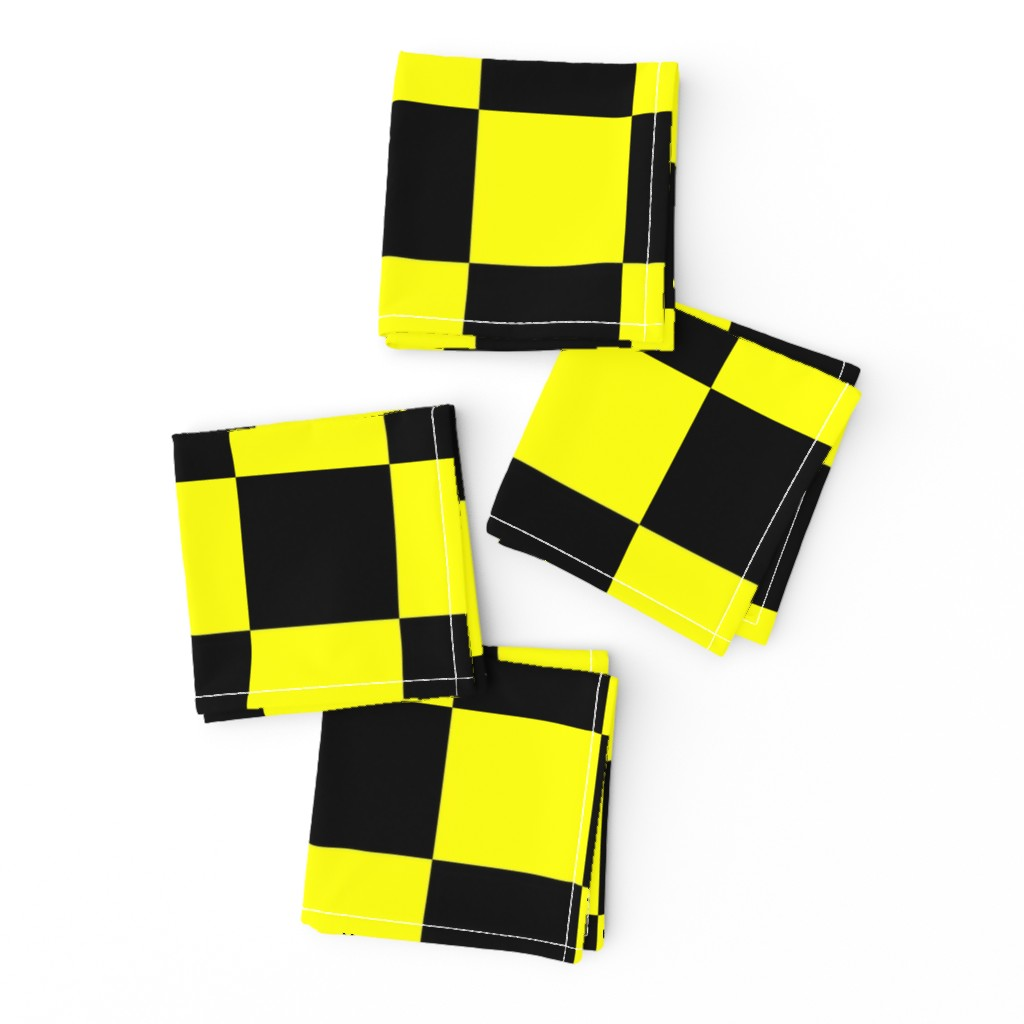Frizzle Cocktail Napkins featuring Bright Fluorescent Yellow Neon & Black Checked Checkerboard by paper_and_frill