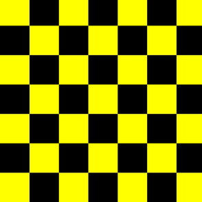 Bright Fluorescent Yellow Neon & Black Checked Checkerboard
