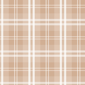 Designer Color Light Hazelnut Brown Tartan Plaid Check