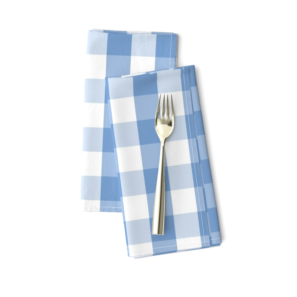 Amarela Dinner Napkins featuring Classic Pale Blue Pastel Gingham Check by paper_and_frill