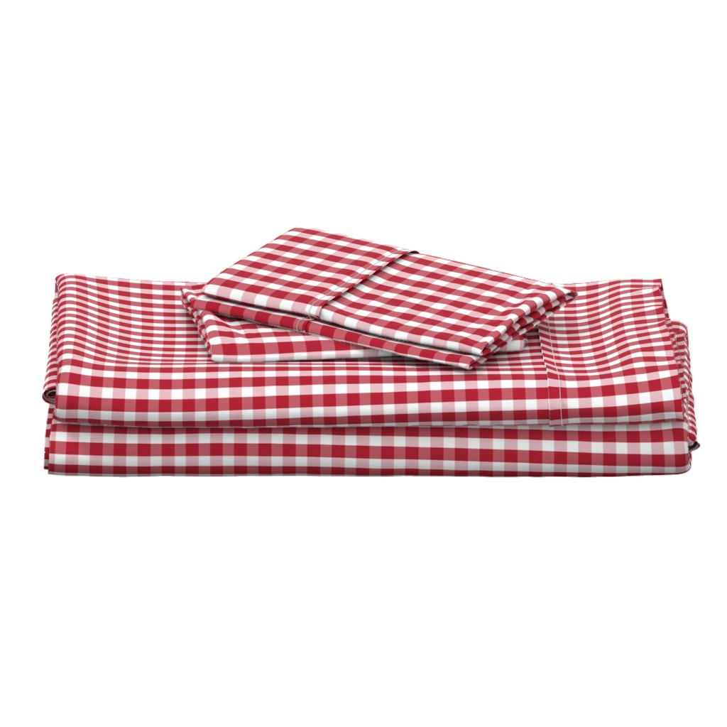 Langshan Full Bed Set featuring USA Flag Red and White Gingham Checked by paper_and_frill