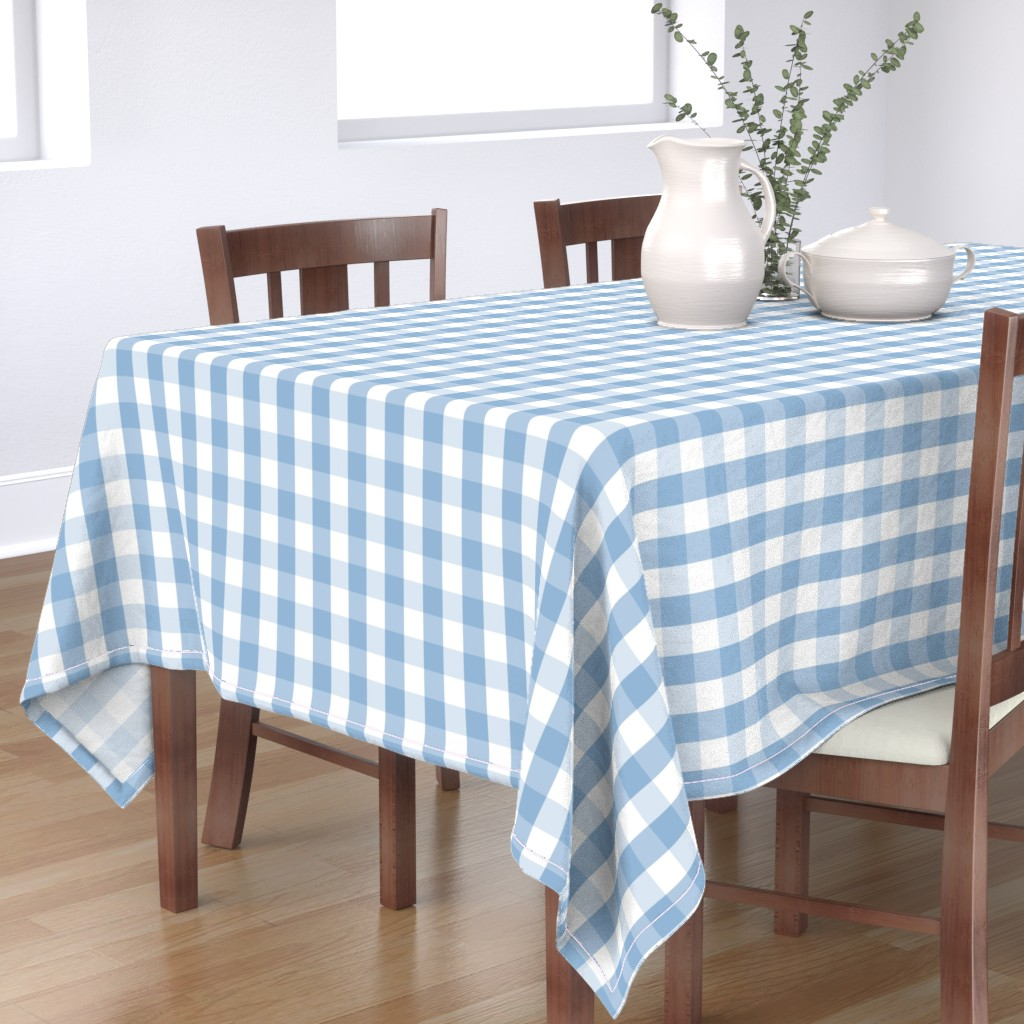 Bantam Rectangular Tablecloth featuring Airy Blue Gingham Check by paper_and_frill
