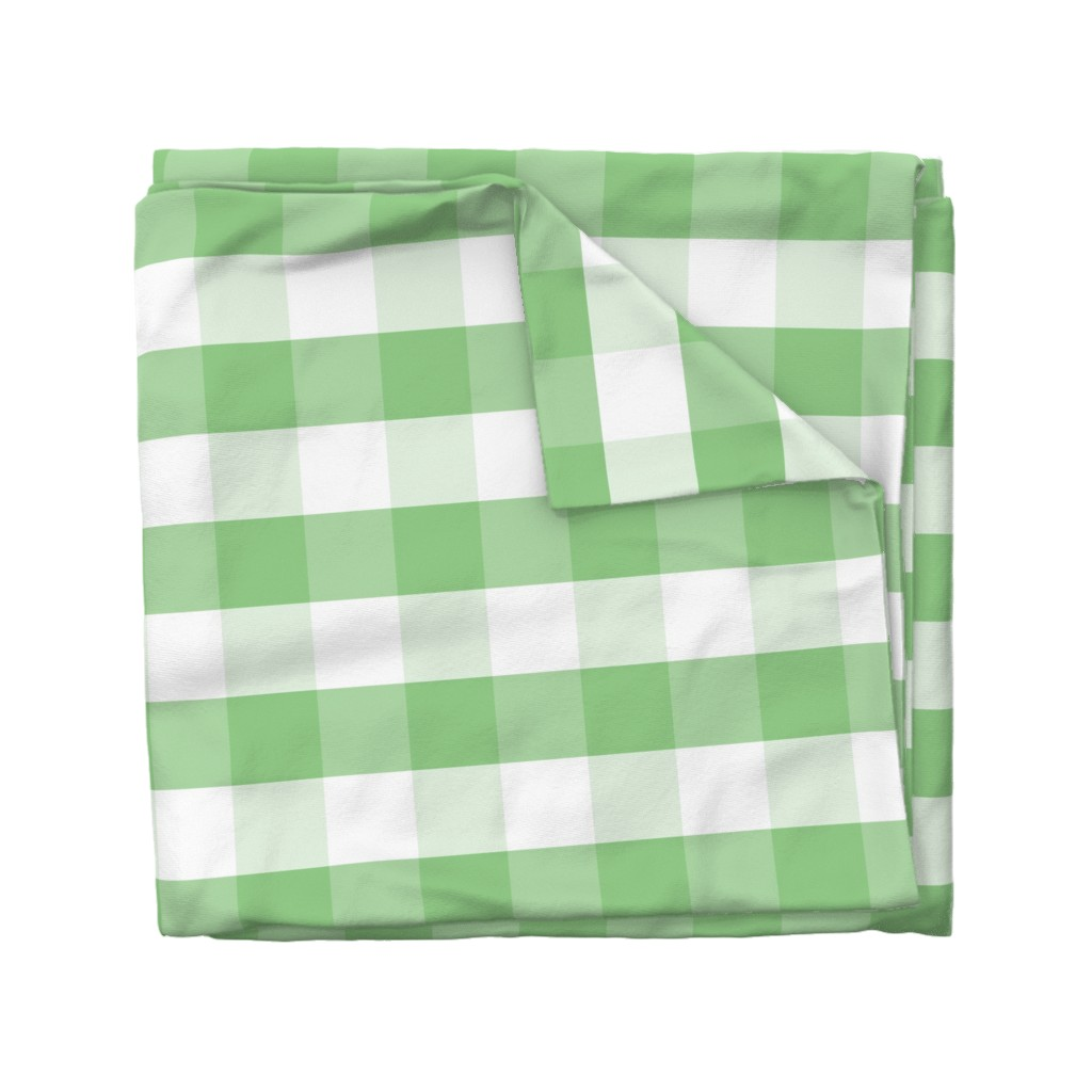 Wyandotte Duvet Cover featuring Greenery and White Gingham Check Plaid by paper_and_frill