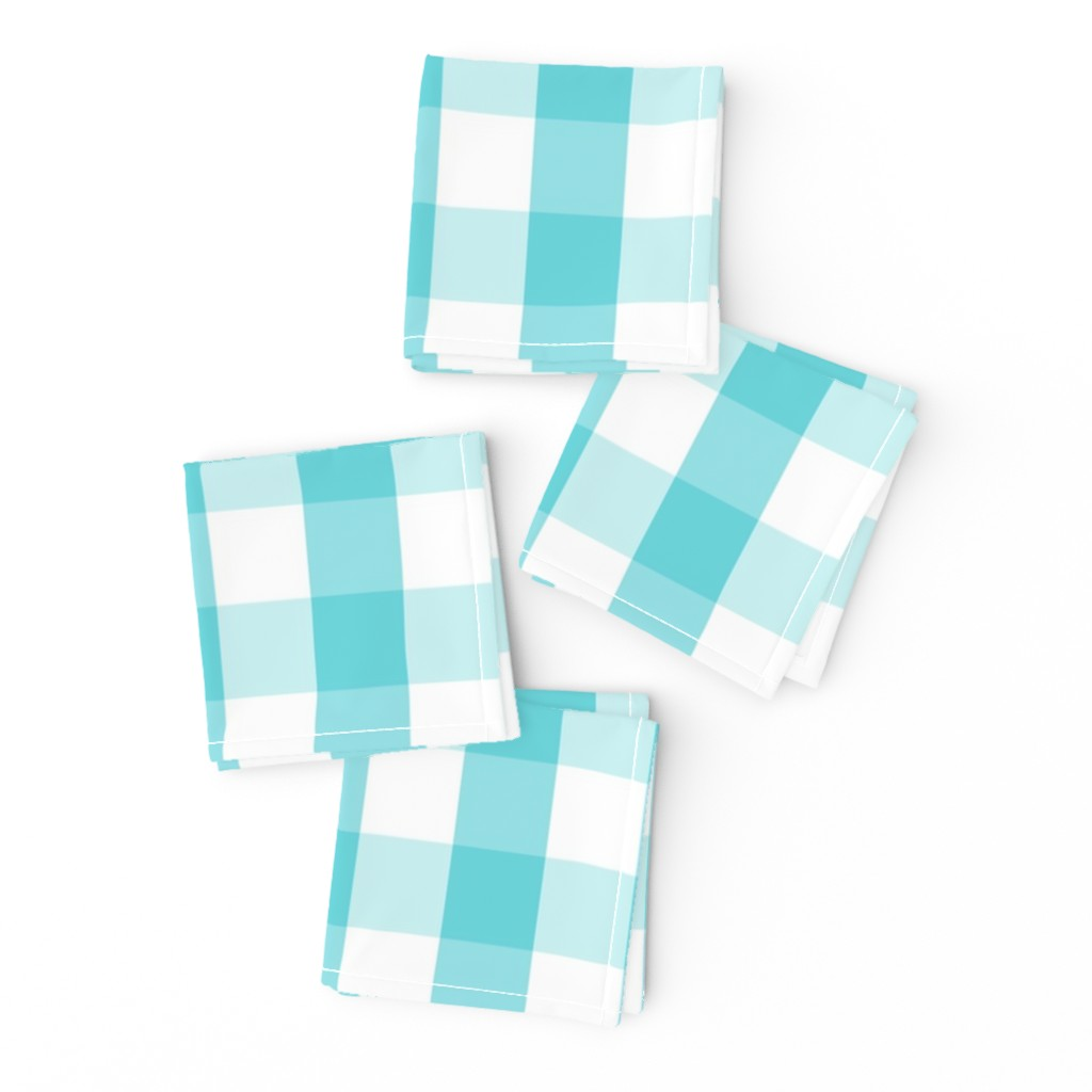 Frizzle Cocktail Napkins featuring Pale Aqua Blue Gingham Check Pattern by paper_and_frill