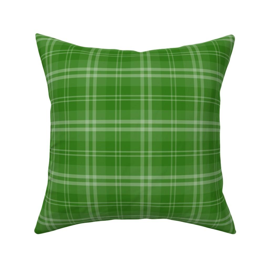 Catalan Throw Pillow featuring Irish Shamrock Green Tartan Check Check Pattern by paper_and_frill