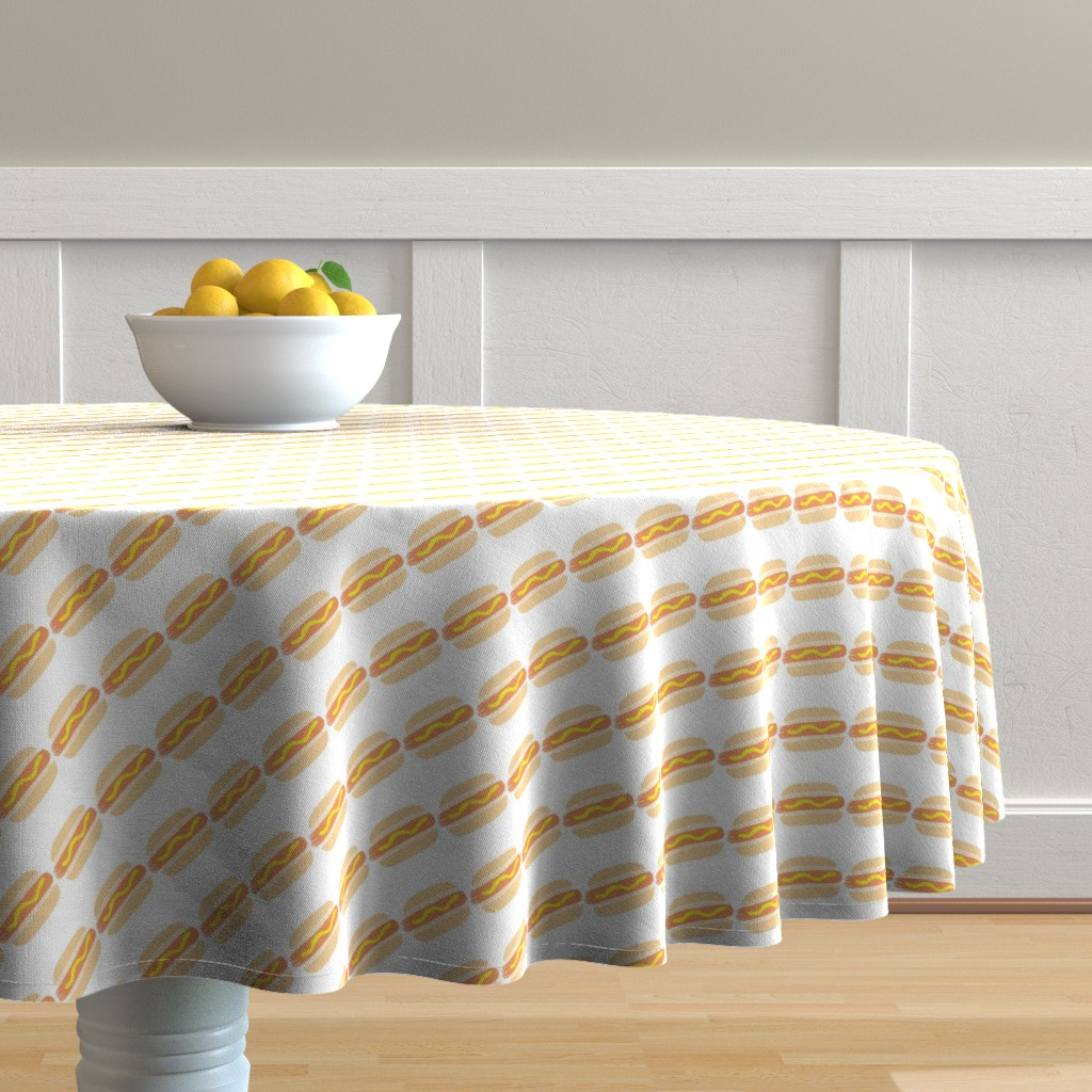 Malay Round Tablecloth featuring hot dog stripes- small scale by tarareed
