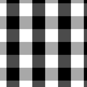 Large Black White Gingham Checked Square Pattern