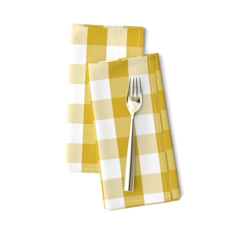 Amarela Dinner Napkins featuring Primrose Yellow Mini Gingham Check Plaid by paper_and_frill