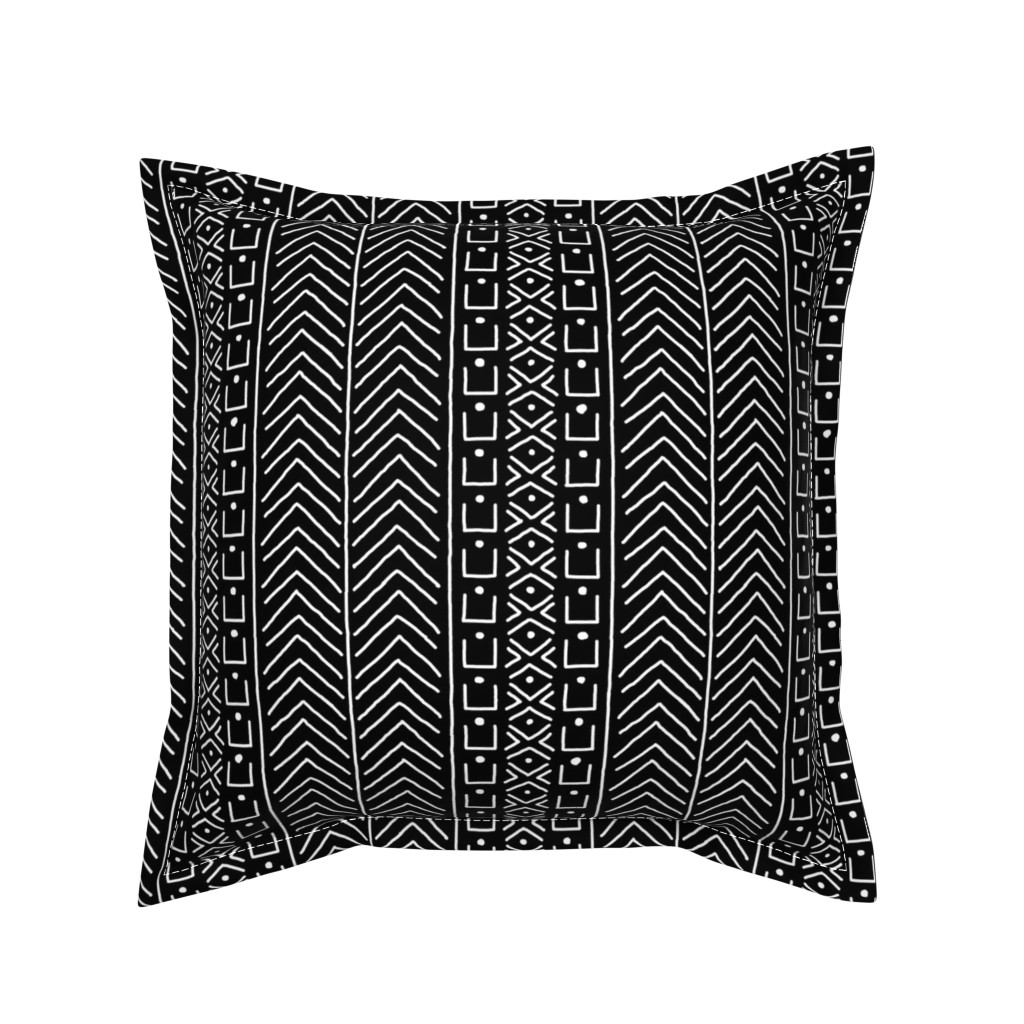Serama Throw Pillow featuring White on Black Mudcloth Inspired 9 by eclectic_house