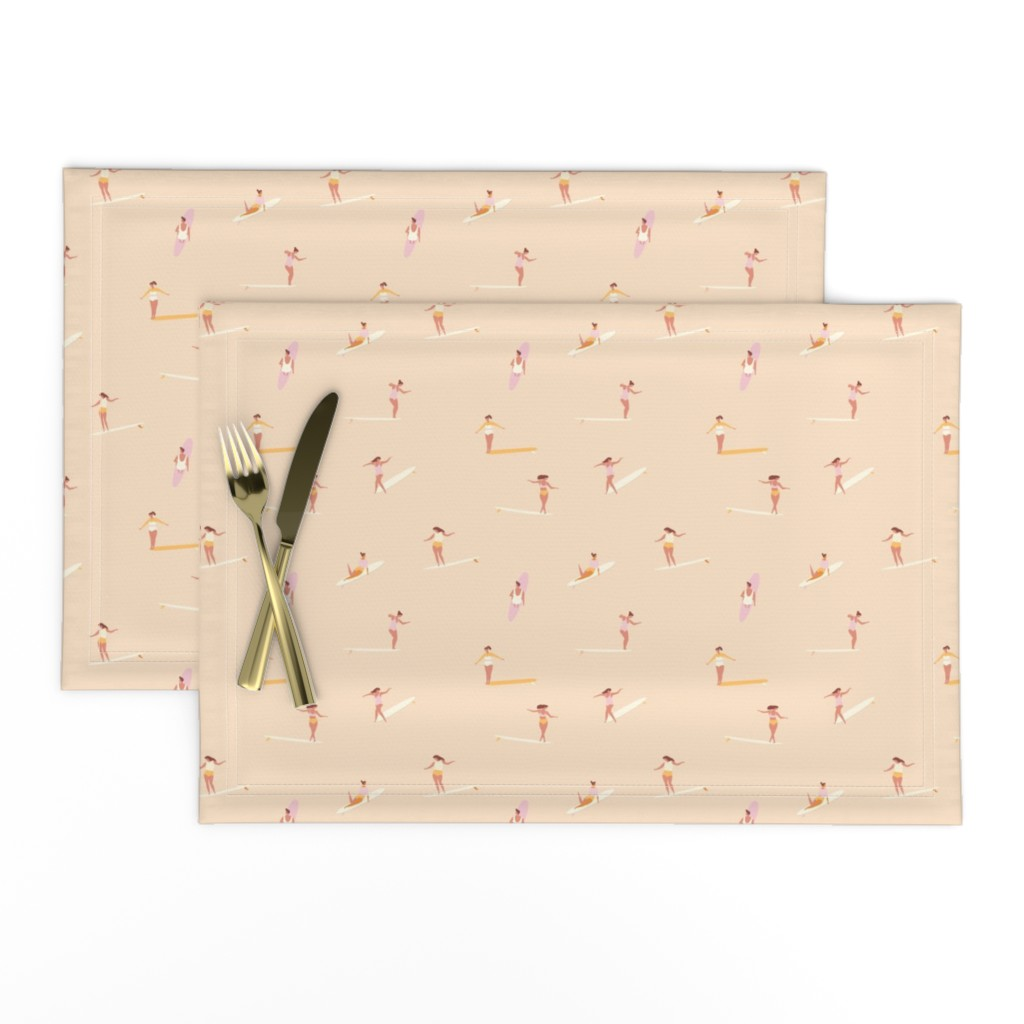 Lamona Cloth Placemats featuring Surf goddess in milky white by tasiania