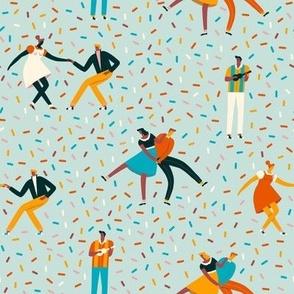 Sock hop dance party blue