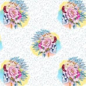 """4"""" Floral Boho Skull Blue Silhouette"""