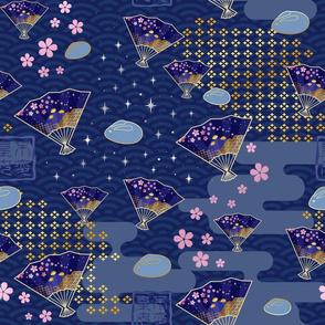 Asian Fans Moon Bunny - Blue