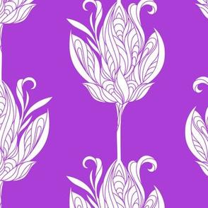 White flowers on purple.