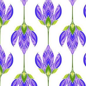Purple flowers on white.