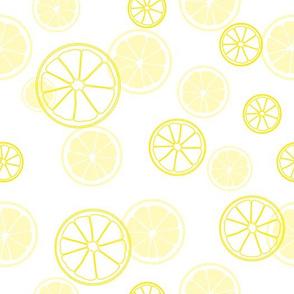 Yellow lemon slices.