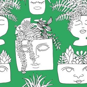 Illustrated Plant Faces in Kelly Green