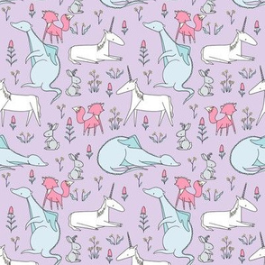 Enchanted Creatures Repeat  PURPLE // by Sweet Melody Designs