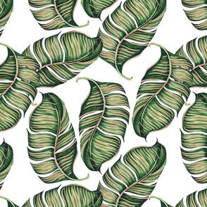Banana leaves with gold strokes