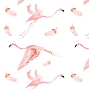 Pastel Flying Flamingos