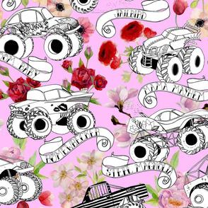monster trucks pale pink