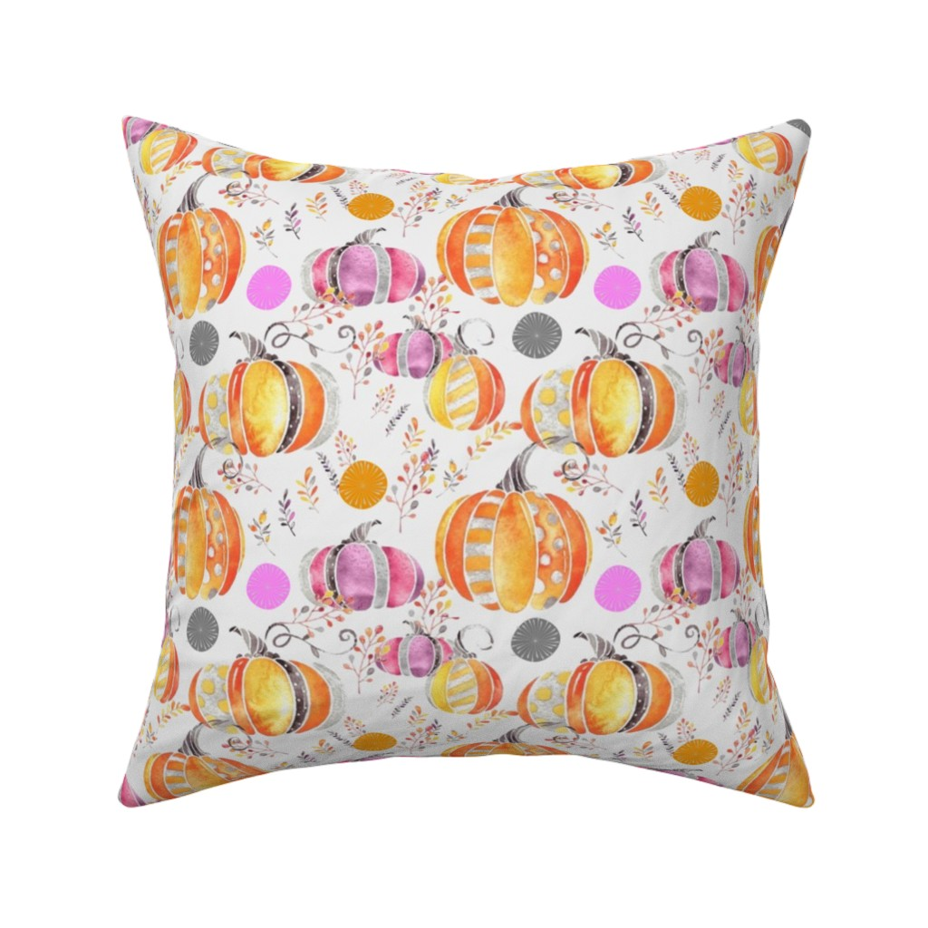 Catalan Throw Pillow featuring Pretty Pumpkins by floramoon