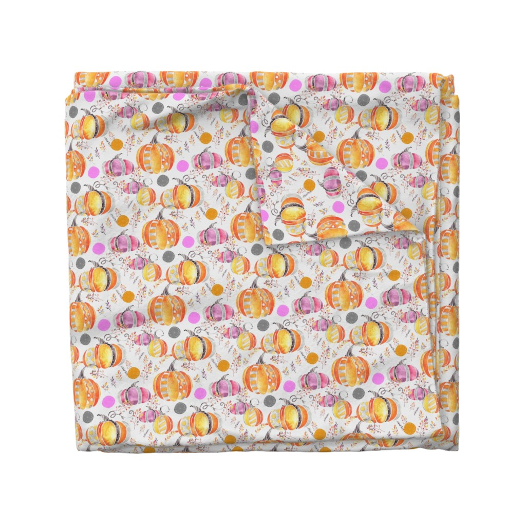 Wyandotte Duvet Cover featuring Pretty Pumpkins by floramoon