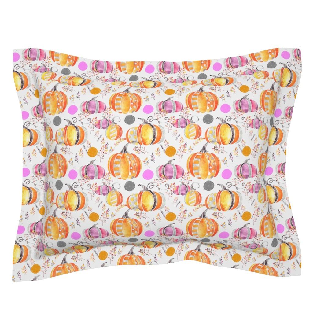 Sebright Pillow Sham featuring Pretty Pumpkins by floramoon