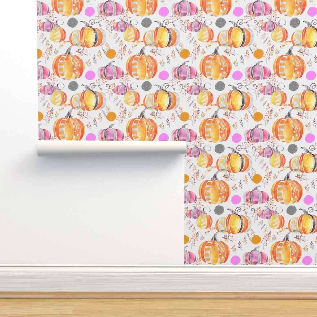 Isobar Durable Wallpaper featuring Pretty Pumpkins by floramoon