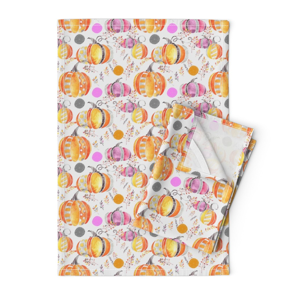 Orpington Tea Towels featuring Pretty Pumpkins by floramoon
