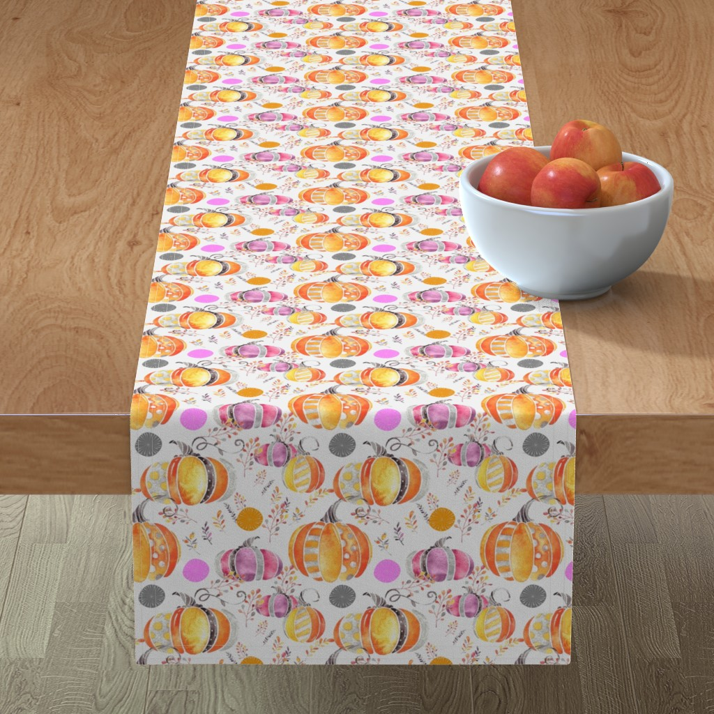 Minorca Table Runner featuring Pretty Pumpkins by floramoon