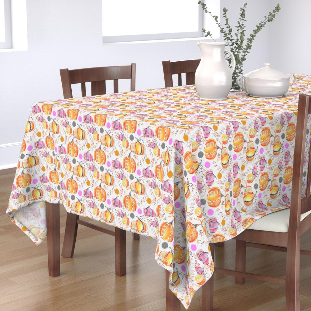 Bantam Rectangular Tablecloth featuring Pretty Pumpkins by floramoon