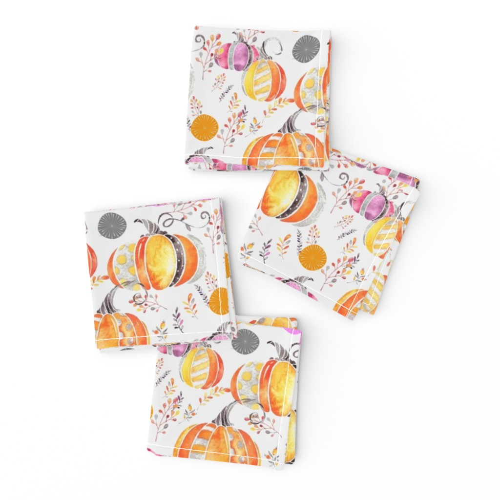 Frizzle Cocktail Napkins featuring Pretty Pumpkins by floramoon