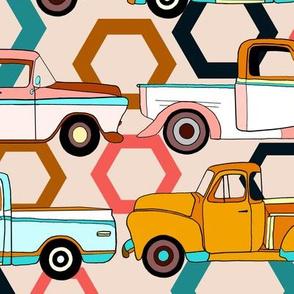 Summer Vintage Trucks With Hexagons - Big