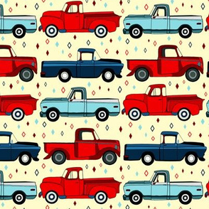Winter Vintage Trucks With Diamonds- Small