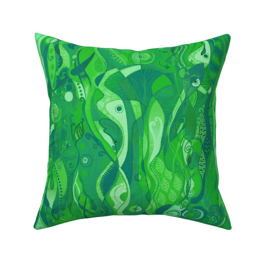 Catalan Throw Pillow featuring Enchanted Emerald Forest by elramsay