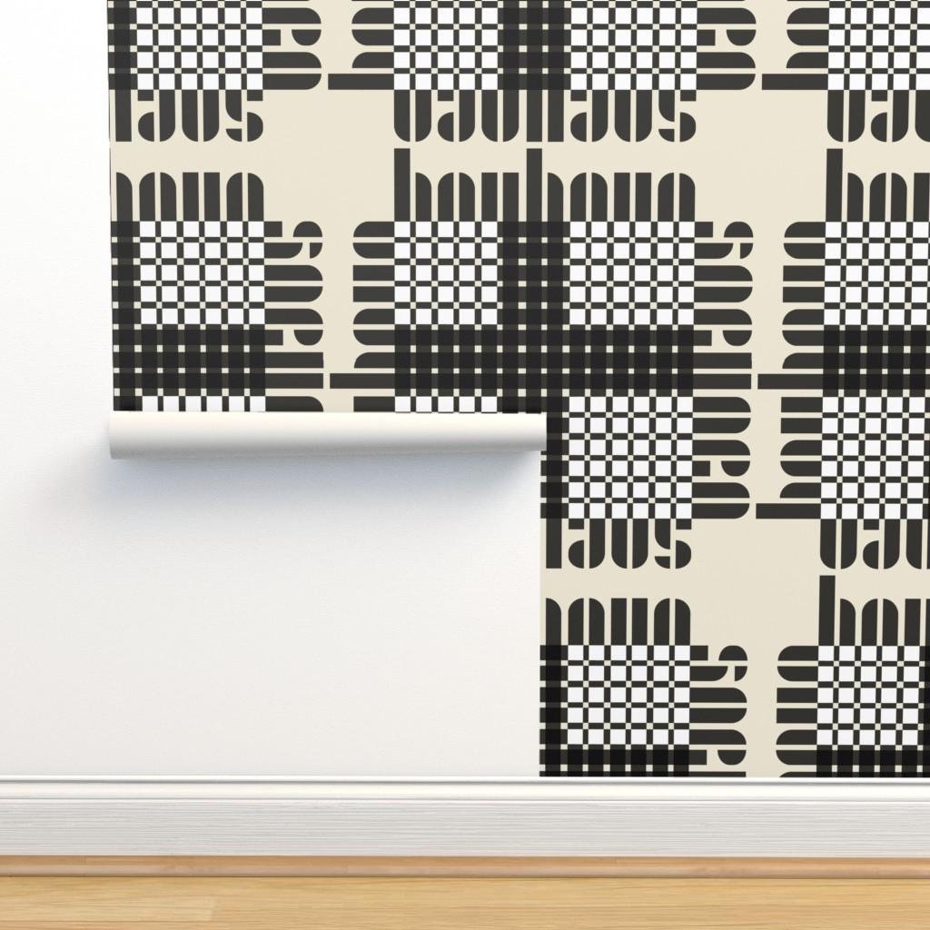 Isobar Durable Wallpaper featuring bauhaus plaid white/cream/black by cinneworthington
