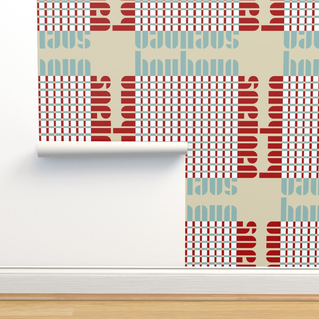 Isobar Durable Wallpaper featuring bauhaus plaid - tan/mint/red by cinneworthington