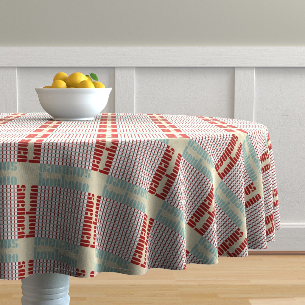 Malay Round Tablecloth featuring bauhaus plaid - tan/mint/red by cinneworthington