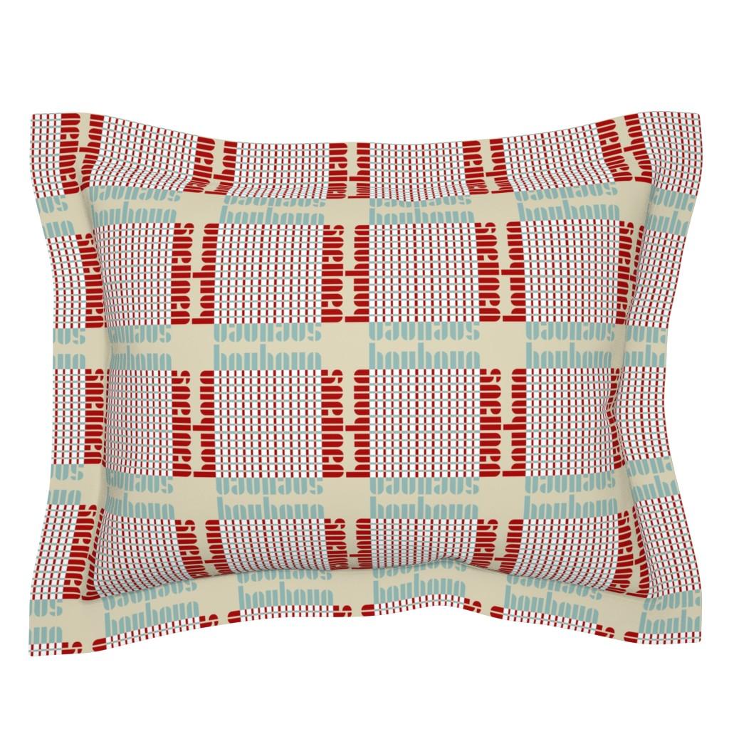 Sebright Pillow Sham featuring bauhaus plaid - tan/mint/red by cinneworthington